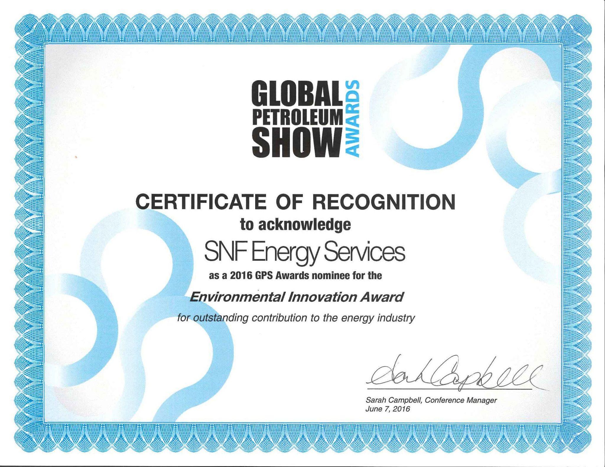 SNF ENV innov Award Certificate