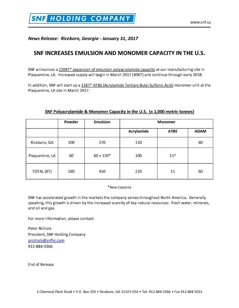 Press Release Plaquemine Expansion 2017 1 31 | SNF U.S.A.
