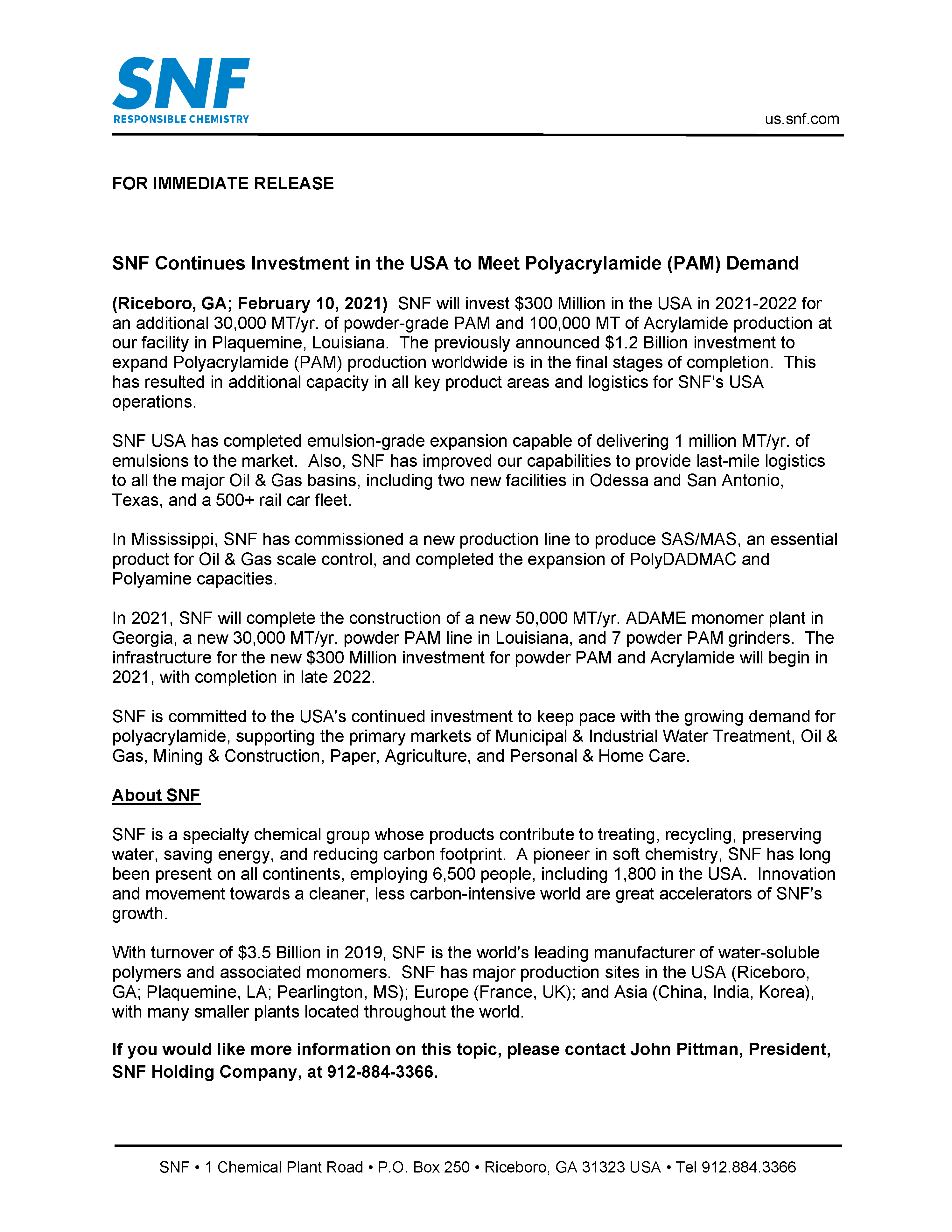 Press Release US Investments 2021 2 10   SNF U.S.A.