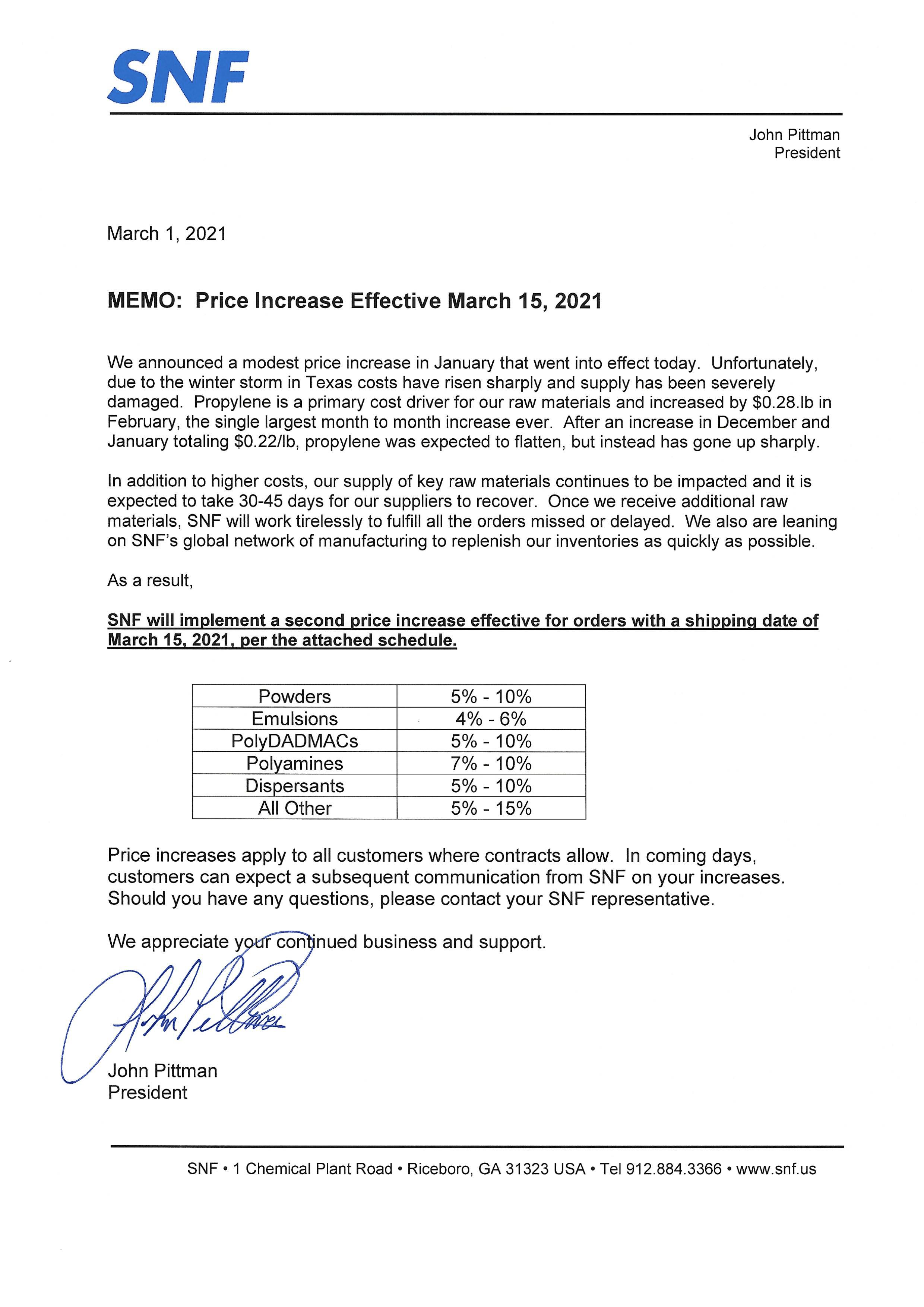 Price Increase 3 15 2021 Memo | SNF U.S.A.