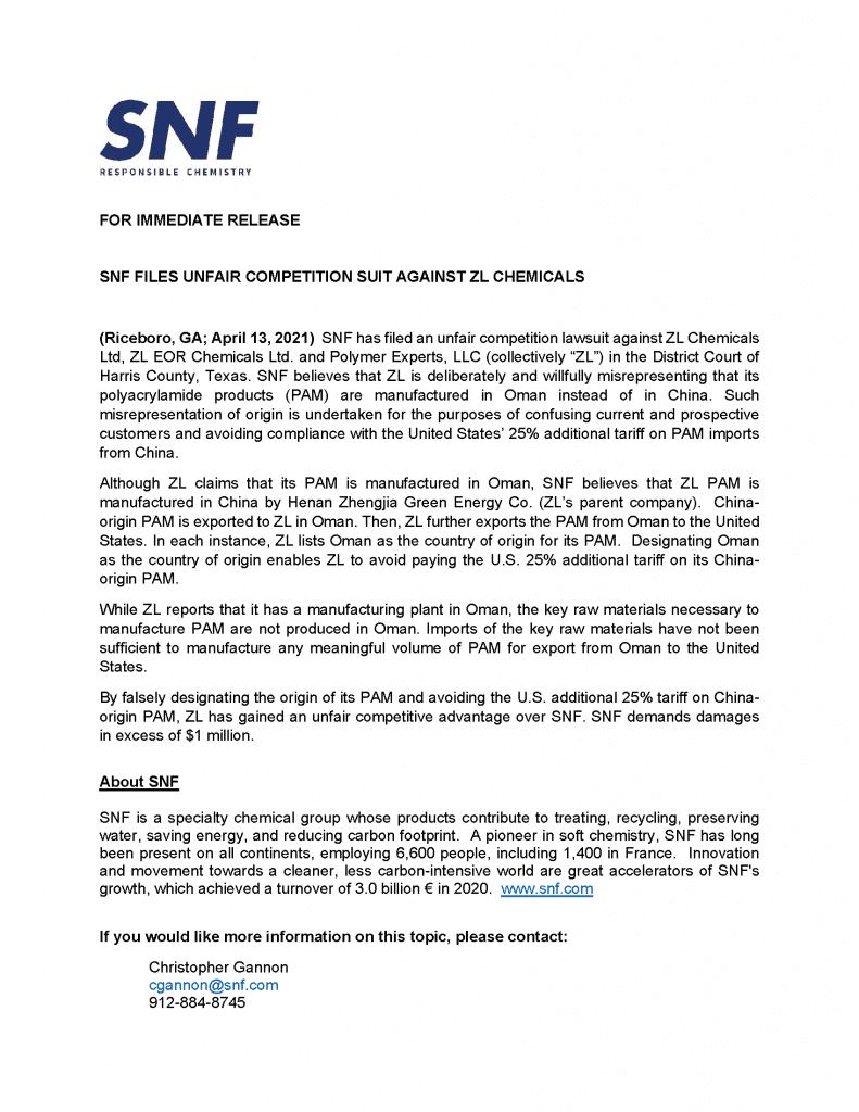 Press Release ZL Chemical | SNF U.S.A.