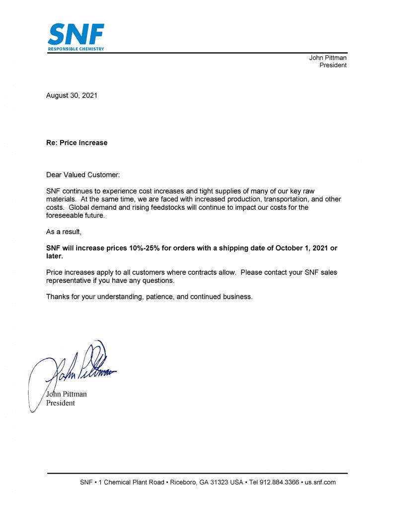 10012021 Price Increase Letter 2 | SNF U.S.A.